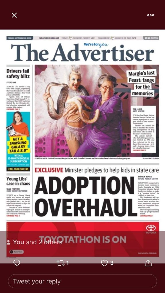 Front page of the Advertiser